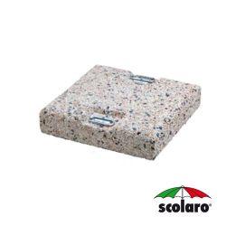 Piastra Quadrata In Cemento e Graniglia per  Ombrelloni a Braccio - 50 x  50 cm - Peso 65 Kg